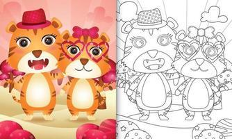 livre de coloriage pour les enfants avec un joli couple de tigre sur le thème de la saint-valentin vecteur