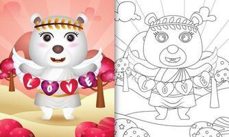 Livre de coloriage pour les enfants avec un ange ours polaire mignon utilisant un costume de cupidon tenant un drapeau en forme de coeur