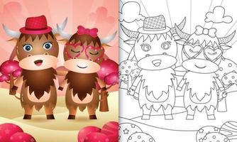 livre de coloriage pour les enfants avec un joli couple de buffles sur le thème de la saint-valentin vecteur