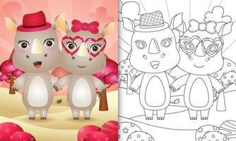 livre de coloriage pour les enfants avec un joli couple de rhinocéros sur le thème de la saint-valentin vecteur