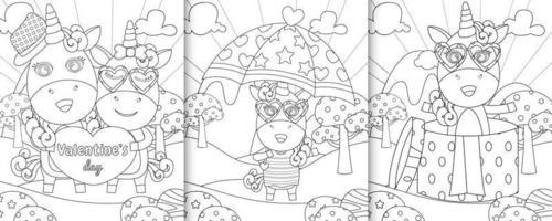 Livre de coloriage avec des personnages de licorne mignons sur le thème de la Saint-Valentin vecteur
