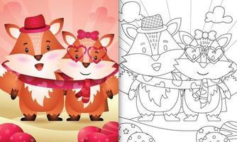 livre de coloriage pour les enfants avec un joli couple de renard Saint Valentin illustré vecteur