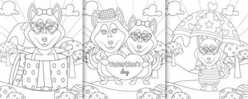 Livre de coloriage avec des personnages de chiens husky mignons sur le thème de la Saint-Valentin vecteur