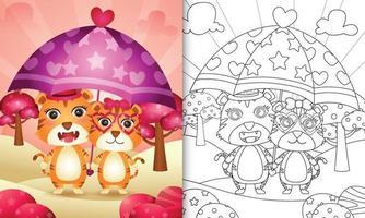 Livre de coloriage pour les enfants avec un joli couple de tigre tenant un parapluie sur le thème de la Saint-Valentin vecteur