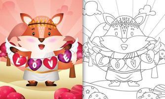 Livre de coloriage pour les enfants avec un ange renard mignon utilisant un costume de cupidon tenant un drapeau en forme de coeur vecteur
