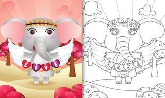 Livre de coloriage pour les enfants avec un ange éléphant mignon utilisant un costume de cupidon tenant un drapeau en forme de coeur vecteur