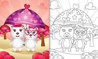 Livre de coloriage pour les enfants avec un joli couple d'ours polaires tenant un parapluie sur le thème de la Saint-Valentin