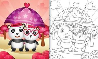 Livre de coloriage pour les enfants avec un joli couple de panda tenant un parapluie sur le thème de la Saint-Valentin vecteur