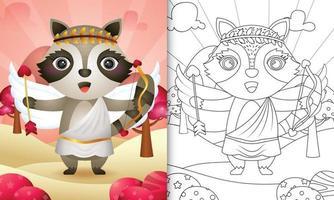 Livre de coloriage pour les enfants avec un ange raton laveur mignon utilisant le costume de cupidon sur le thème de la Saint-Valentin vecteur
