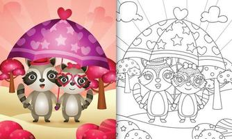 Livre de coloriage pour les enfants avec un joli couple de raton laveur tenant un parapluie sur le thème de la Saint-Valentin vecteur