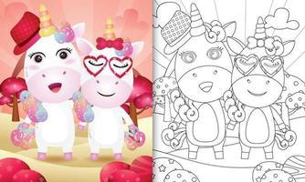 livre de coloriage pour les enfants avec un joli couple de licorne sur le thème de la saint-valentin vecteur