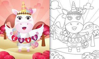 Livre de coloriage pour les enfants avec un ange licorne mignon utilisant un costume de cupidon tenant un drapeau en forme de coeur vecteur