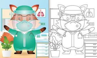 livre de coloriage pour les enfants avec une illustration de personnage de renard mignon utilisant le costume de l'équipe médicale