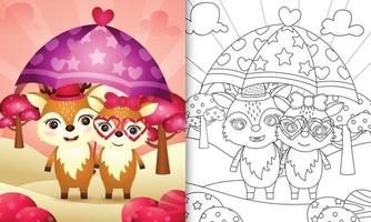 Livre de coloriage pour les enfants avec un joli couple de cerfs tenant un parapluie sur le thème de la Saint-Valentin vecteur