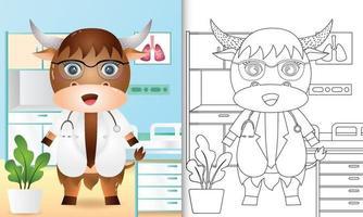 livre de coloriage pour les enfants avec une illustration de personnage mignon médecin buffle vecteur