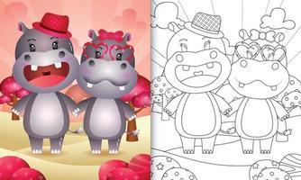 livre de coloriage pour les enfants avec un joli couple hippopotame sur le thème de la saint-valentin vecteur