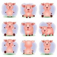 jolie collection de cochons dans le style des enfants vecteur