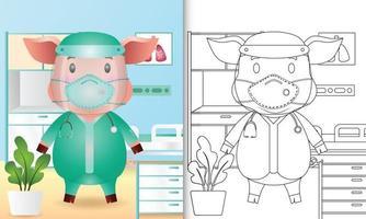 livre de coloriage pour les enfants avec une illustration de personnage de cochon mignon utilisant le costume de l'équipe médicale vecteur