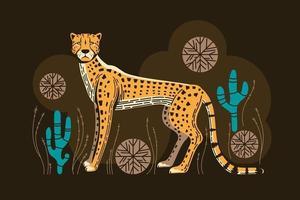 Adorable chasse au guépard avec de l'herbe spinifex et des cactus vecteur