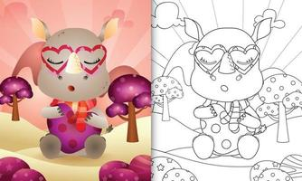 livre de coloriage pour les enfants avec un joli rhinocéros sur le thème de la saint-valentin vecteur