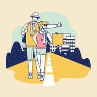 jeunes touristes avec un sac à dos marchant vecteur