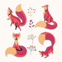 ensemble d & # 39; animal de renard avec fond de feuillage vecteur
