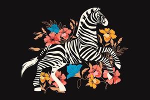 zèbre sauvage avec fond de fleurs tropicales exotiques vecteur
