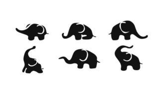 collection d & # 39; illustration vectorielle de silhouettes d & # 39; éléphants vecteur