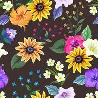 modèle sans couture coloré avec dessin floral botanique sur fond sombre.