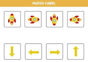 gauche, droite, haut ou bas. orientation spatiale avec fusée spatiale en carton. vecteur