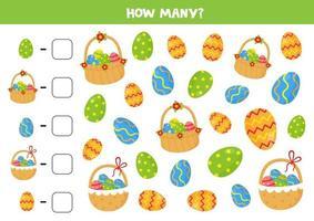 jeu de comptage avec des œufs de Pâques et des paniers. feuille de calcul mathématique.