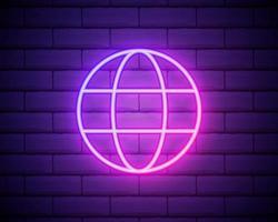 signe au néon de globe. publicité lumineuse de nuit. illustration vectorielle dans un style néon pour la géographie et la connaissance vecteur