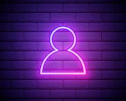 avatar, icône de néon rose de profil. fond de mur de brique. icône de vecteur de couleur néon.