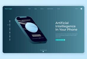 technologie de traitement et illustration isométrique du smartphone pour la page de destination vecteur