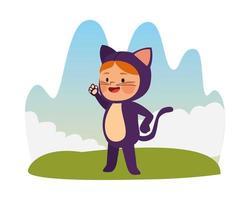 jolie petite fille habillée en personnage de chat vecteur