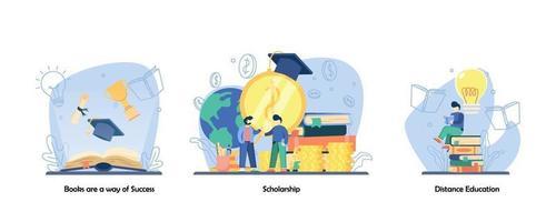 enseignement à domicile, récompense, jeu d'icônes de livre de lecture. les livres sont un moyen de réussite, de bourses d'études, d'enseignement à distance. vector design plat isolé concept métaphore illustrations