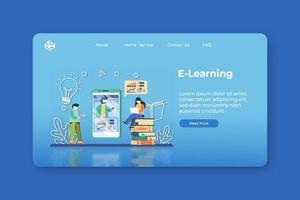 illustration vectorielle de design plat moderne. Page de destination e-learning et modèle de bannière Web. éducation numérique, enseignement en ligne, enseignement à distance, enseignement à domicile, apprendre pendant la quarantaine vecteur