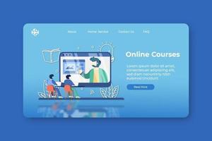illustration vectorielle de design plat moderne. page de destination des cours en ligne et modèle de conception de bannière Web. formation en ligne, webinaire, enseignement en ligne, éducation en ligne, apprendre n'importe où, éducation numérique vecteur