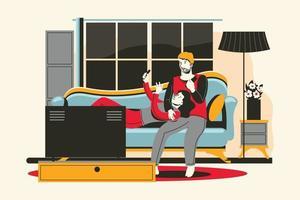 un jeune couple se détendre avec un gadget dans le salon