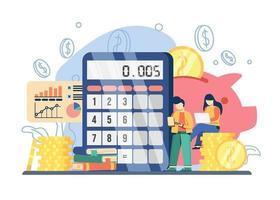 concept de cours de comptabilité.big calculatrice et tirelire avec homme et femme assis sur coincé de pièces de monnaie. peut être utilisé pour les pages de destination, le Web, l'interface utilisateur, les bannières, les modèles, les arrière-plans, le flayer. vecteur
