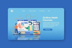 illustration vectorielle de design plat moderne. page de destination des cours de mathématiques en ligne et modèle de bannière Web. éducation en ligne, formation numérique, e-learning, enseignement à distance, enseignement à domicile, webinaire. vecteur