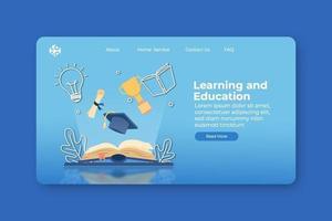 illustration vectorielle de design plat moderne. page de destination d'apprentissage et d'éducation et modèle de bannière Web. connaissance et réussite, éducation, apprentissage, obtention du diplôme, livre ouvert avec trophée et chapeau de graduation vecteur