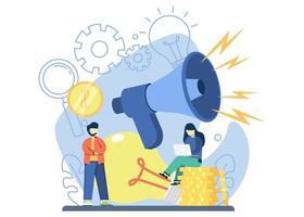 concept de marketing créatif. femme assise sur une pile de pièces avec grand mégaphone et lampe. publicité, promotion, entreprise, marketing sur les réseaux sociaux. illustration vectorielle pour bannière, web, application mobile vecteur