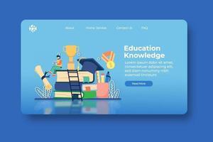 illustration vectorielle de design plat moderne. page de destination des connaissances de l'éducation et modèle de bannière Web. L'éducation, l'école, l'apprentissage, la réussite scolaire, académique, l'enseignement à distance, l'obtention du diplôme, vecteur