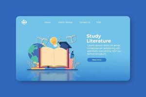illustration vectorielle de design plat moderne. étudier la page de destination de la littérature et le modèle de bannière Web. livre de lecture, recherche, étude, retour à l'école, enseignement à distance, enseignement à domicile, les livres sont des connaissances. vecteur