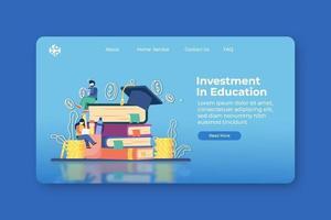 illustration vectorielle de design plat moderne. investissement dans la page de destination de l'éducation et le modèle de bannière Web. investissement dans l'éducation, bourse, prêt étudiant, chapeau de fin d'études et pile de pièces de monnaie. vecteur