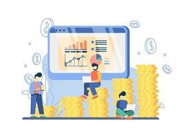 concept de prévision des ventes. graphique de progression des ventes sur écran et graphique de croissance avec des piles de pièces. vente flash, offre spéciale, promotion de boutique e-commerce, métaphore abstraite des achats en ligne.