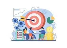 concept de stratégie d'entreprise. les gens discutent de la stratégie commerciale avec une grande cible. idée d'entreprise, stratégie et solution, résolution de problèmes, prise de décision. conception graphique pour le web, applications mobiles, bannière. vecteur