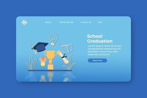 illustration vectorielle de design plat moderne. page de destination de remise des diplômes de l'école et modèle de bannière Web. connaissance et réussite, éducation, réussite d'apprentissage, graduation, trophée et chapeau de graduation vecteur