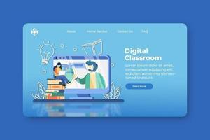 illustration vectorielle de design plat moderne. page de destination de classe numérique et modèle de bannière Web. e-learning, enseignement à distance, apprendre n'importe où, apprentissage à domicile, enseignement en ligne, concept de webinaire. vecteur